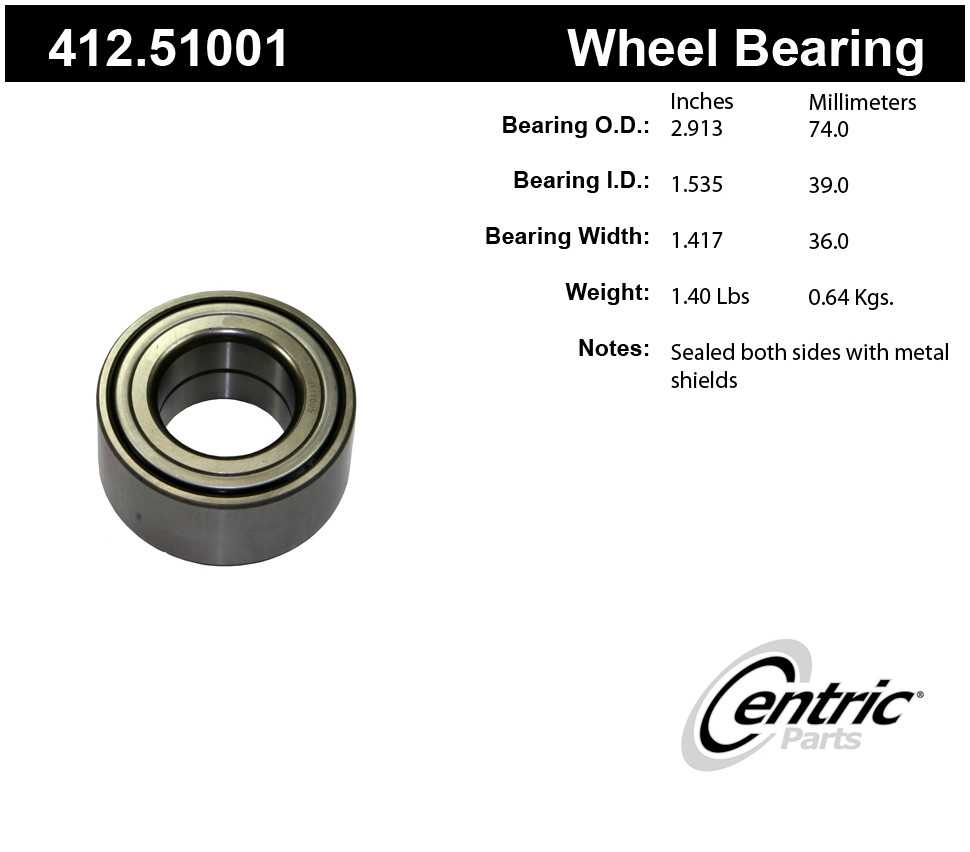 CENTRIC PARTS - Centric Premium Axle Shaft, Hub & Wheel Bearings - CEC 412.51001
