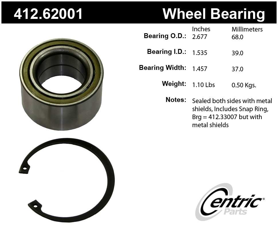 CENTRIC PARTS - Centric Premium Axle Shaft, Hub & Wheel Bearings (Front) - CEC 412.62001