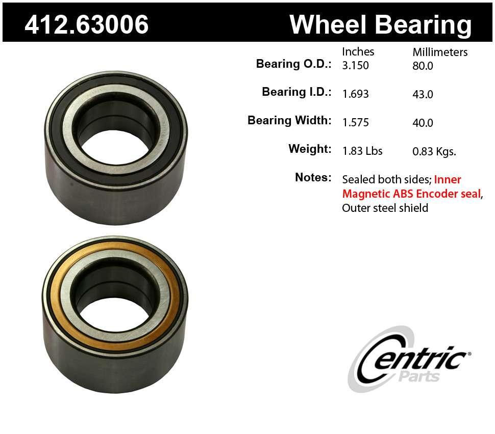 CENTRIC PARTS - Centric Premium Axle Shaft, Hub & Wheel Bearings (Front) - CEC 412.63006