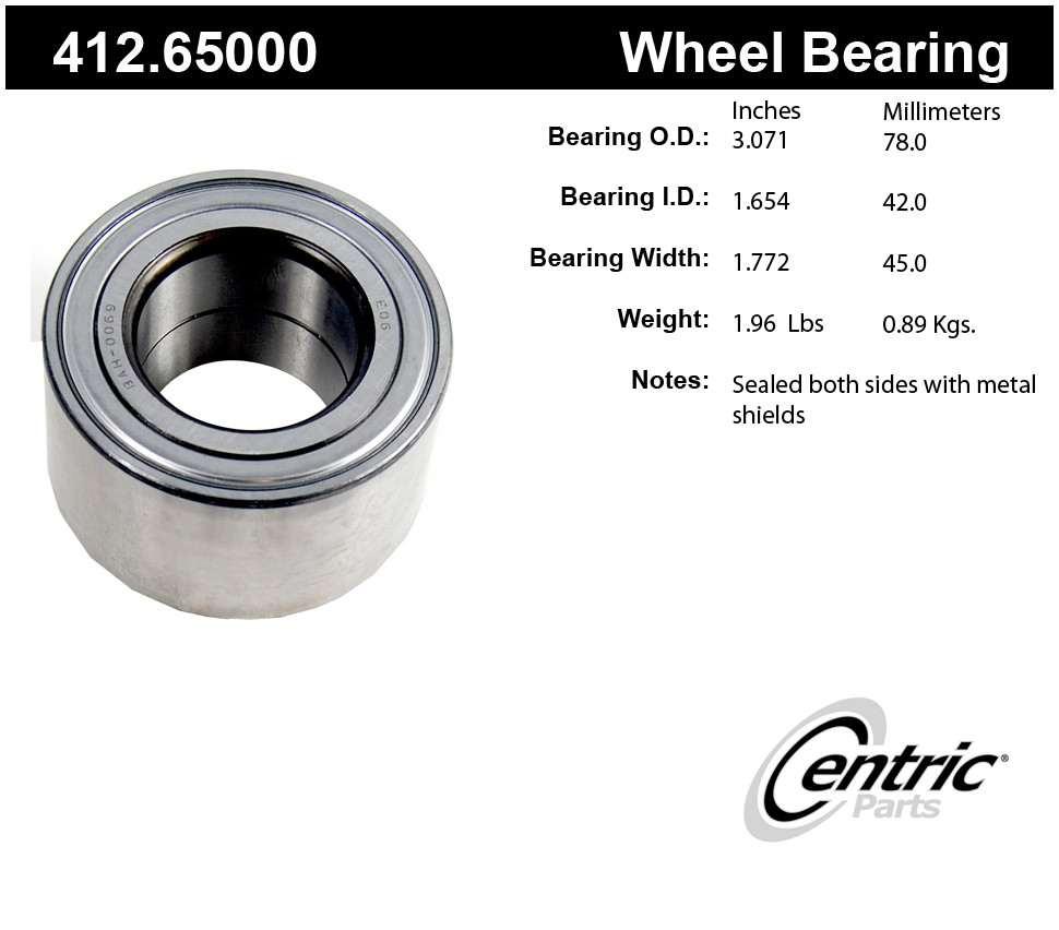 CENTRIC PARTS - Centric Premium Axle Shaft, Hub & Wheel Bearings (Front) - CEC 412.65000
