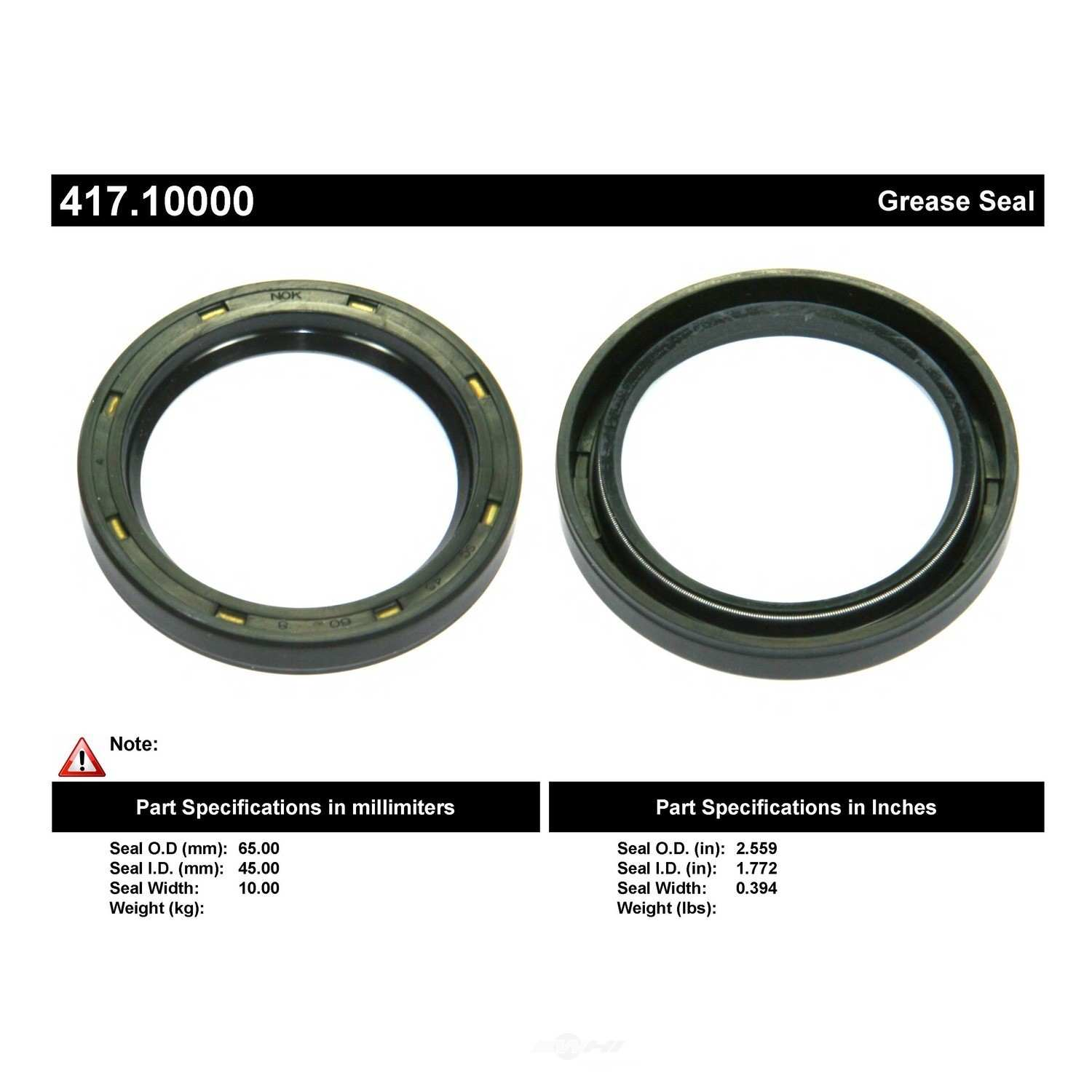 CENTRIC PARTS - Centric Premium Oil & Grease Seal - CEC 417.10000