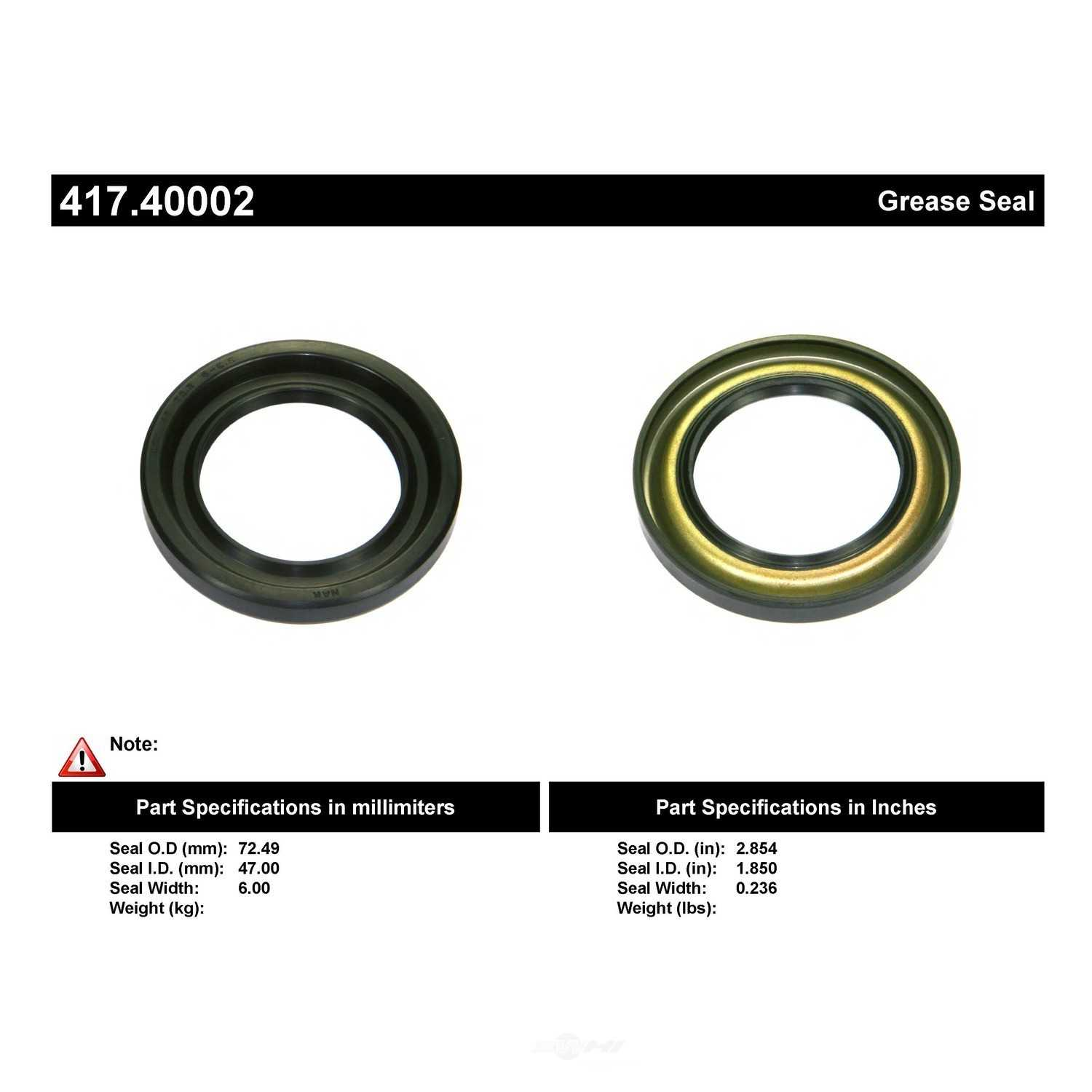 CENTRIC PARTS - Centric Premium Oil & Grease Seal (Front Outer) - CEC 417.40002