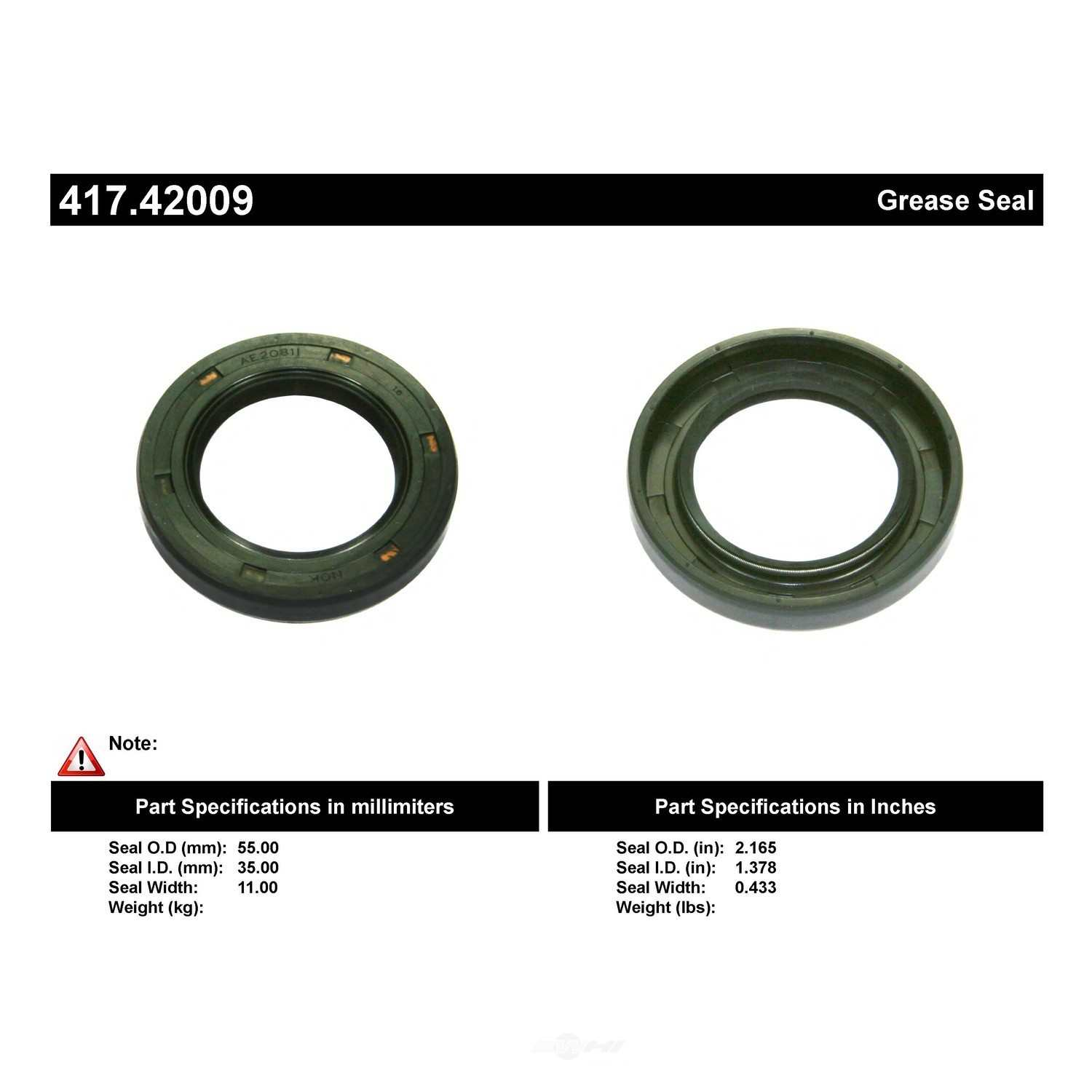 CENTRIC PARTS - Axle Shaft Seal - CEC 417.42009
