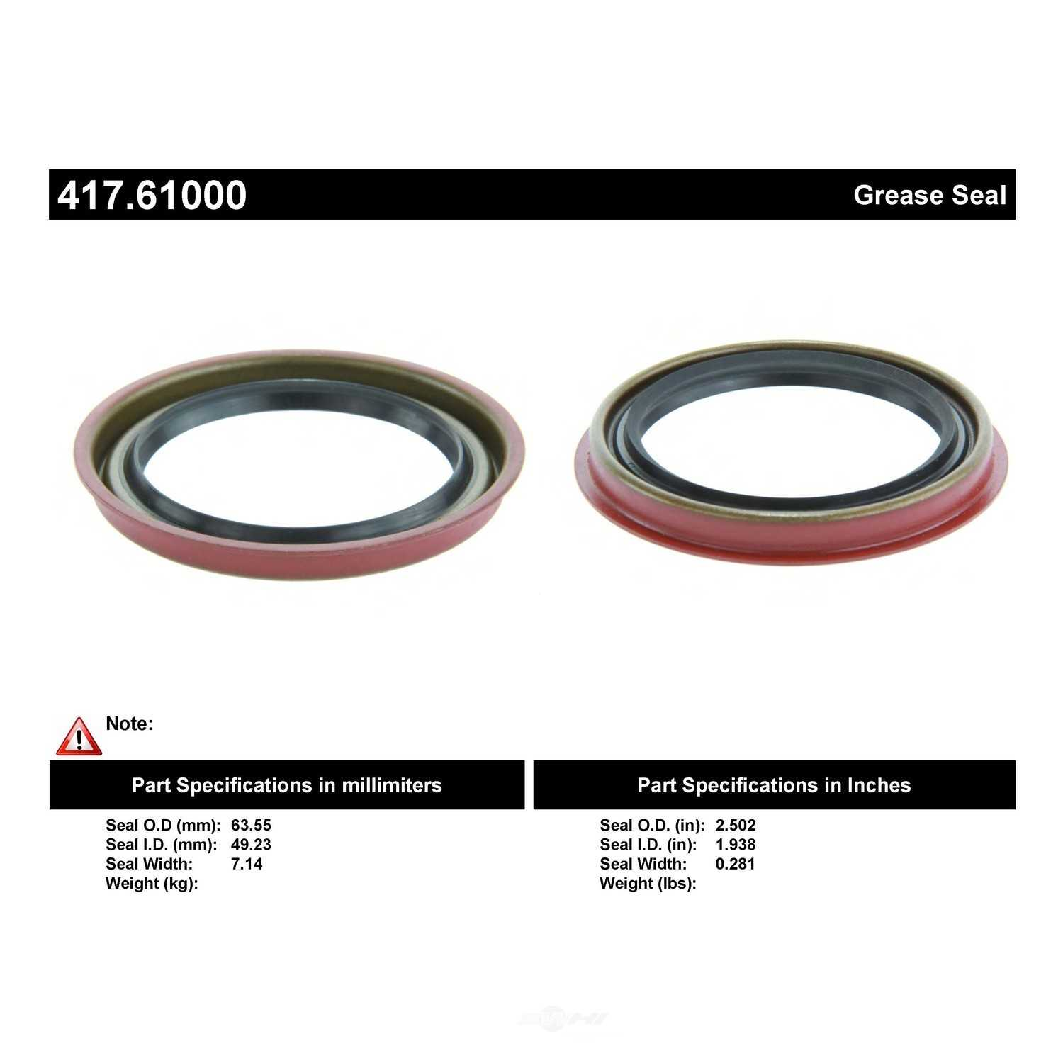 CENTRIC PARTS - Centric Premium Oil & Grease Seal - CEC 417.61000