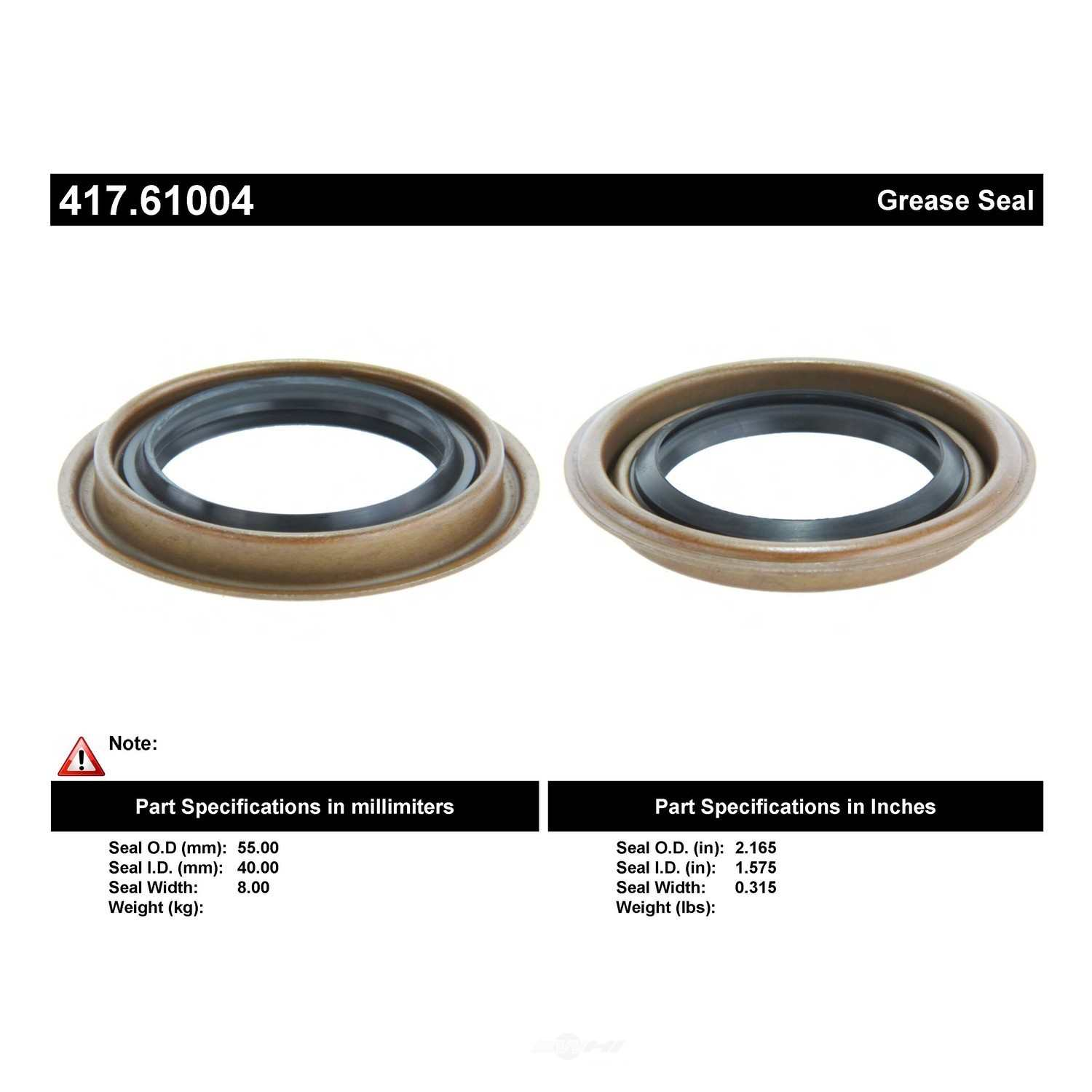 CENTRIC PARTS - Axle Shaft Seal - CEC 417.61004