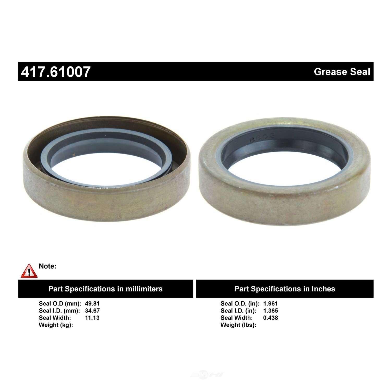 CENTRIC PARTS - Centric Premium Oil & Grease Seal (Rear) - CEC 417.61007
