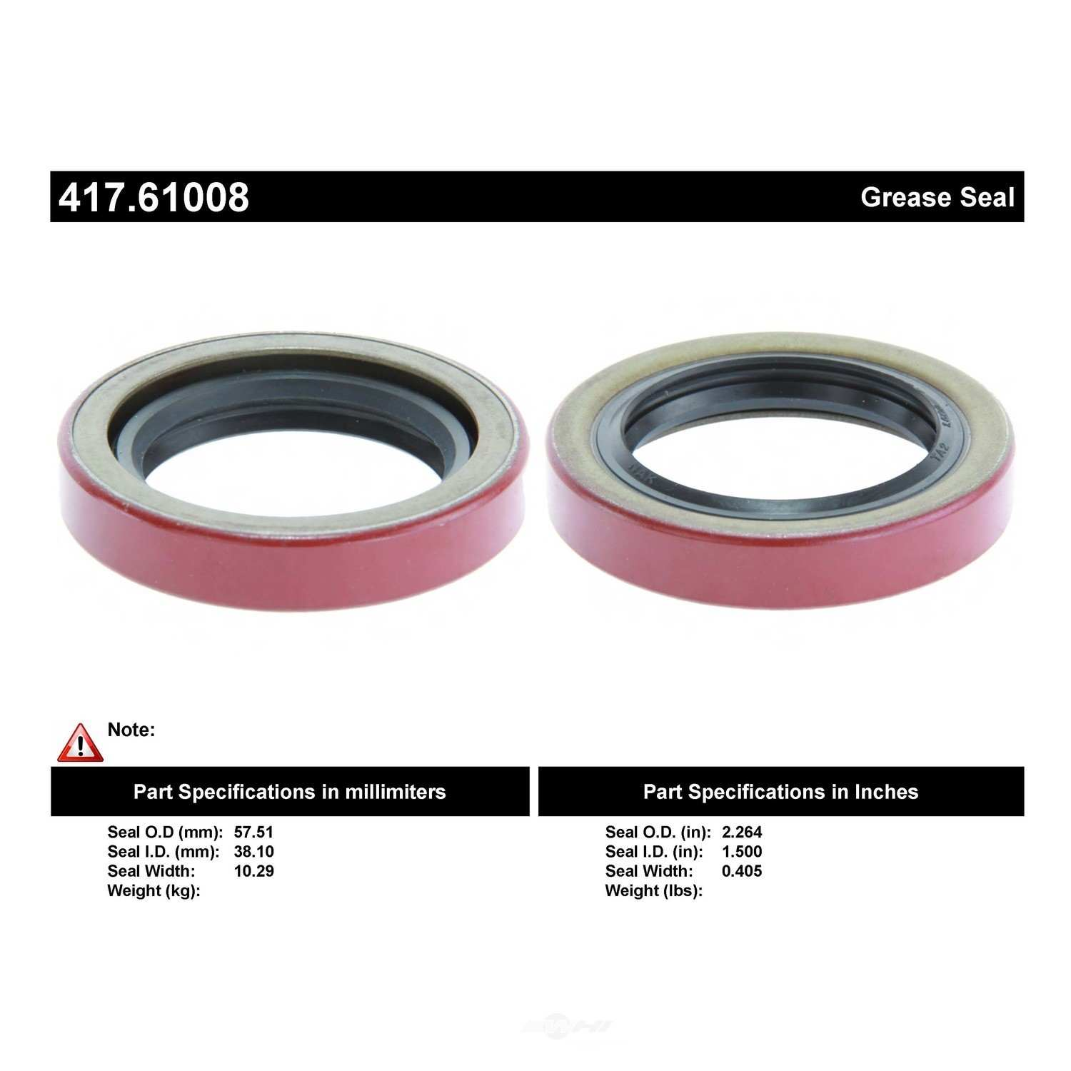 CENTRIC PARTS - Centric Premium Oil & Grease Seal - CEC 417.61008