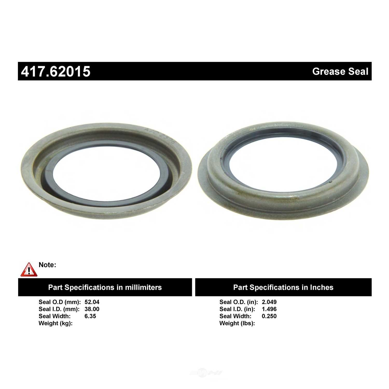 CENTRIC PARTS - Centric Premium Oil & Grease Seal (Front Inner) - CEC 417.62015