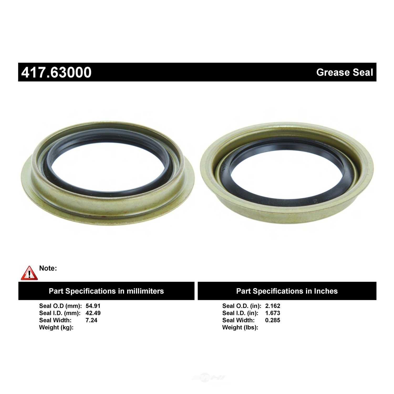 CENTRIC PARTS - Centric Premium Oil & Grease Seal (Rear Inner) - CEC 417.63000