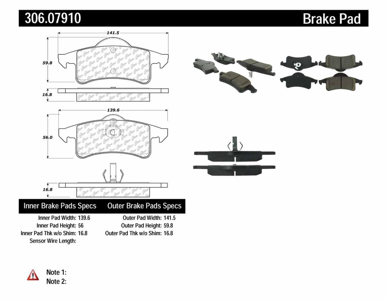 CENTRIC FLEET PERFORMANCE - Centric Fleet Performance Pads w/Hardware (Rear) - CEF 306.07910