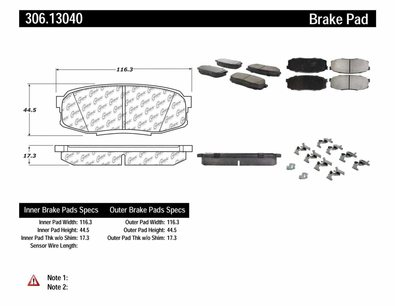CENTRIC FLEET PERFORMANCE - Centric Fleet Performance Pads w/Hardware (Rear) - CEF 306.13040