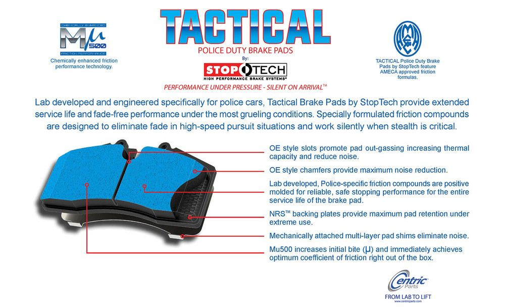 CENTRIC FLEET PERFORMANCE - Centric Tactical Police Duty by StopTech (Rear) - CEF 307.13520