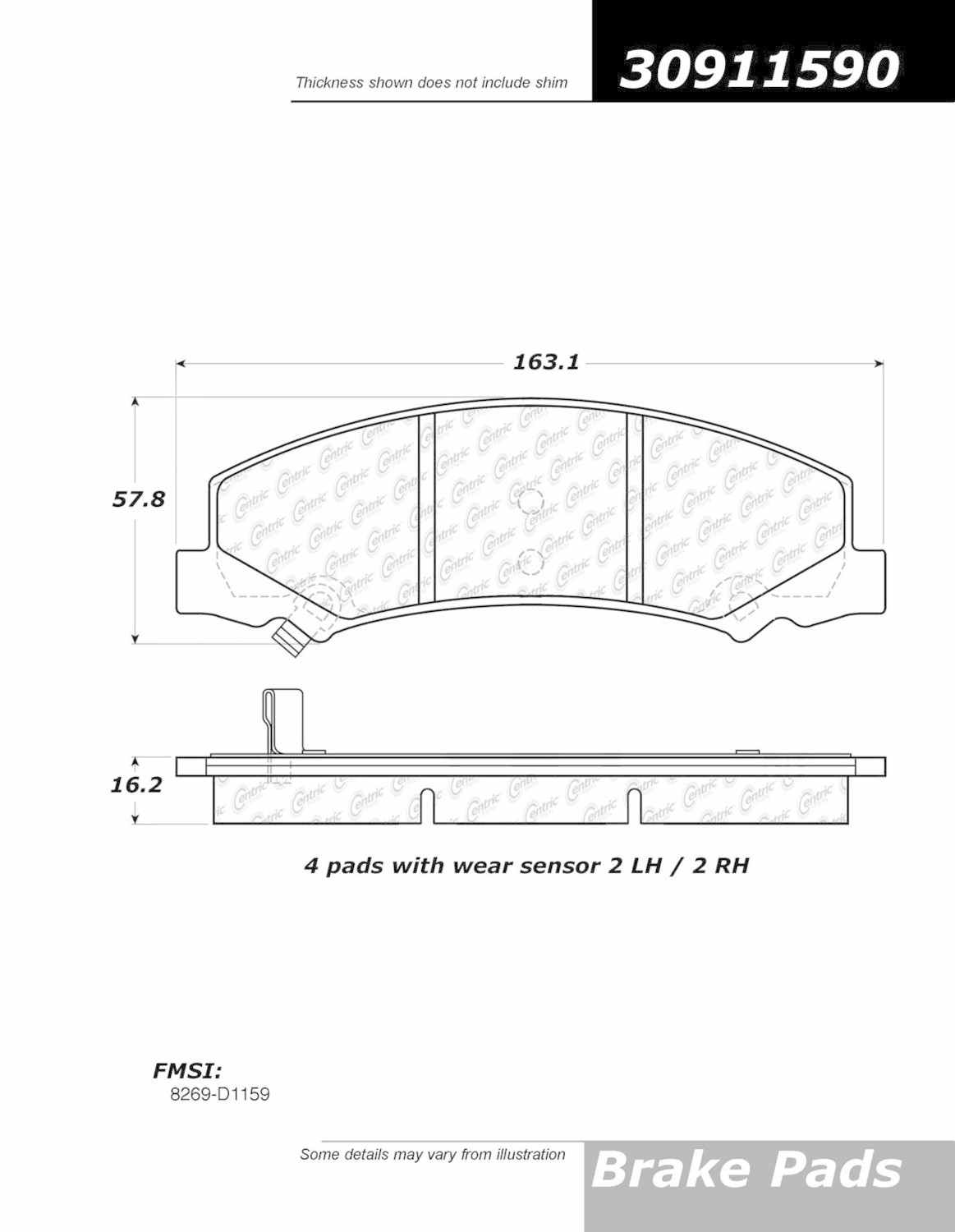 CENTRIC FLEET PERFORMANCE - Fleet Performance Brake Pad w\/Hardware - CEF 306.11590