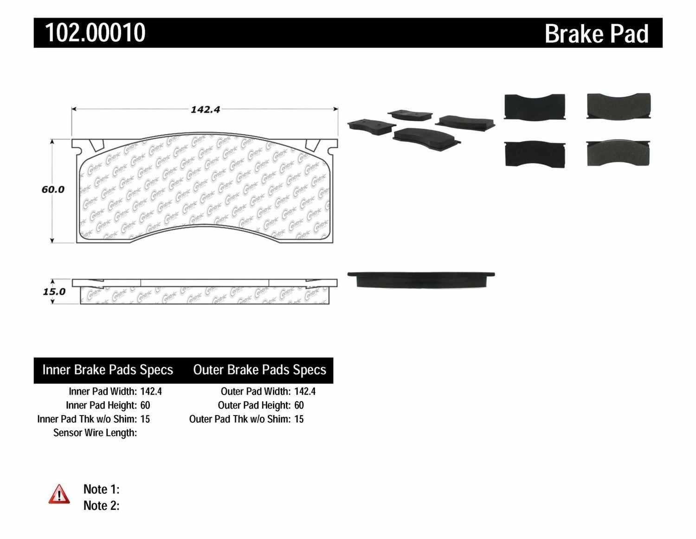 C-TEK BY CENTRIC - C-TEK Metallic Brake Pads-Preferred - CTK 102.00010