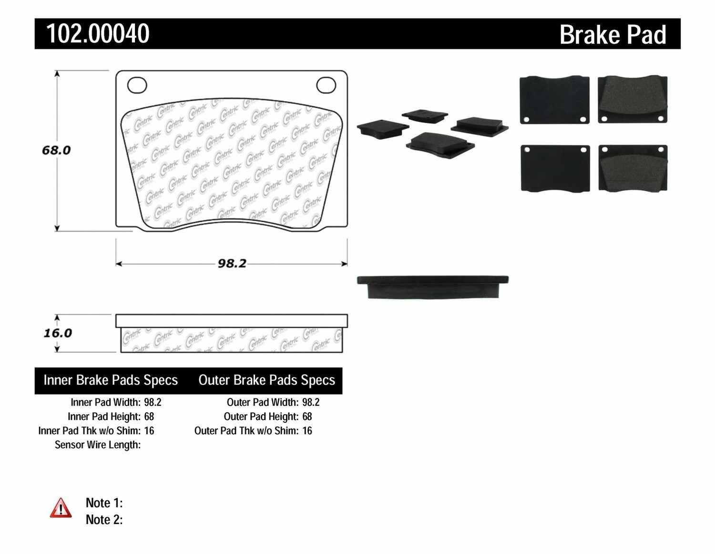 C-TEK BY CENTRIC - C-TEK Metallic Brake Pads-Preferred - CTK 102.00040