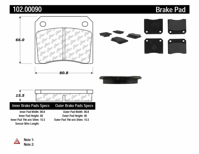 C-TEK BY CENTRIC - C-TEK Metallic Brake Pads - CTK 102.00090