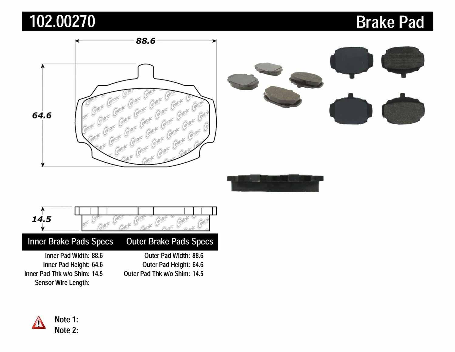 C-TEK BY CENTRIC - C-TEK Metallic Brake Pads-Preferred - CTK 102.00270