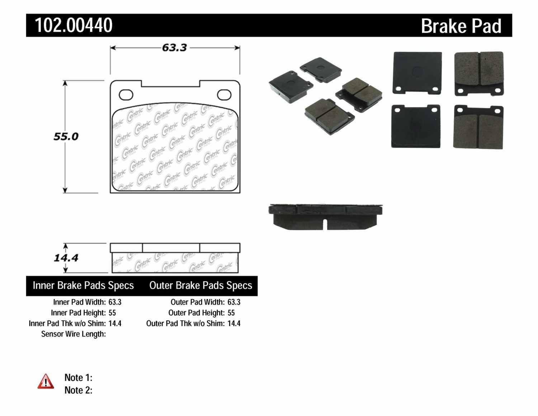 C-TEK BY CENTRIC - C-TEK Metallic Brake Pads - CTK 102.00440