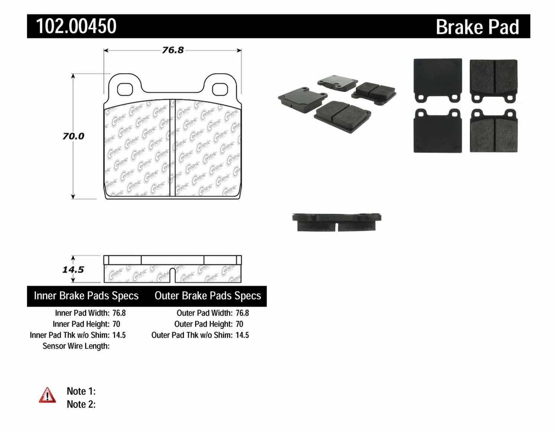 C-TEK BY CENTRIC - C-TEK Metallic Brake Pads - CTK 102.00450