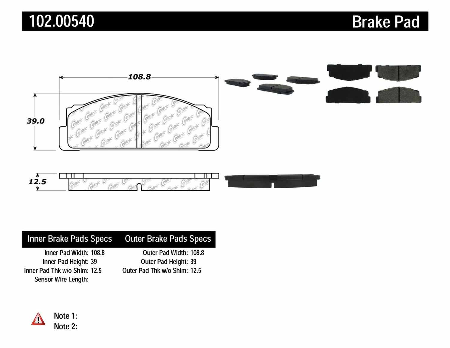 C-TEK BY CENTRIC - C-TEK Metallic Brake Pads-Preferred (Front) - CTK 102.00540