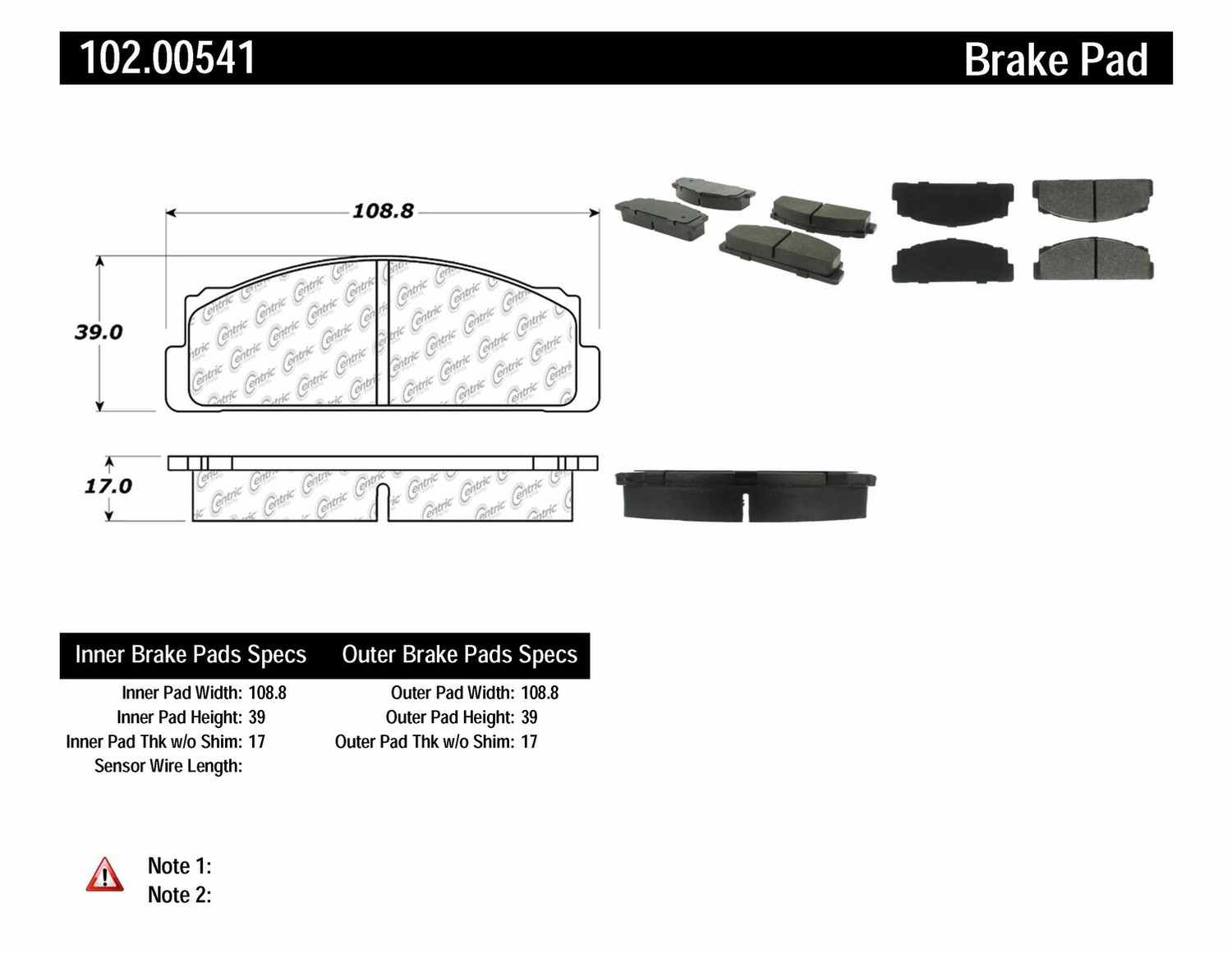C-TEK BY CENTRIC - C-TEK Metallic Brake Pads-Preferred (Front) - CTK 102.00541