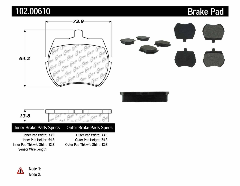 C-TEK BY CENTRIC - C-TEK Metallic Brake Pads-Preferred - CTK 102.00610