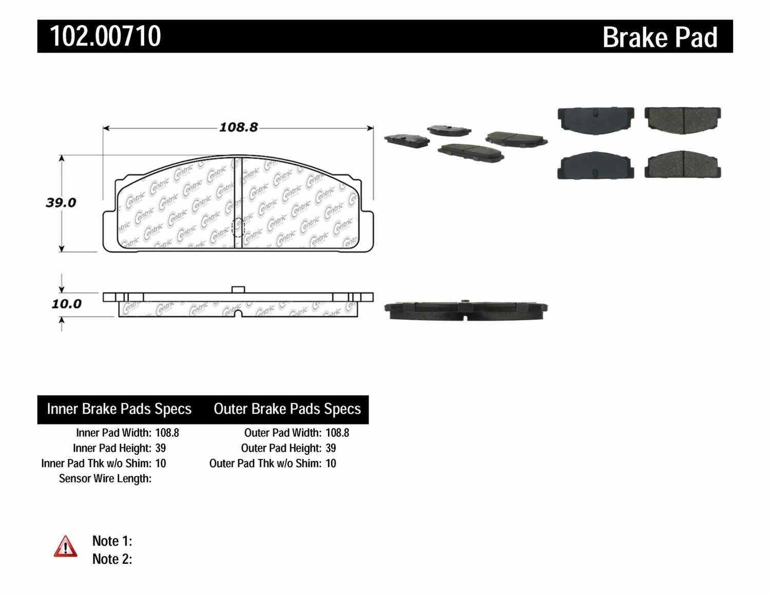 C-TEK BY CENTRIC - C-TEK Metallic Brake Pads-Preferred (Rear) - CTK 102.00710
