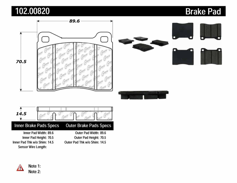 C-TEK BY CENTRIC - C-TEK Metallic Brake Pads - CTK 102.00820