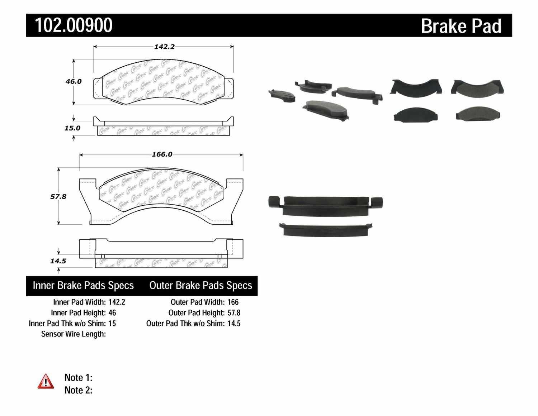 C-TEK BY CENTRIC - C-TEK Metallic Brake Pads-Preferred - CTK 102.00900