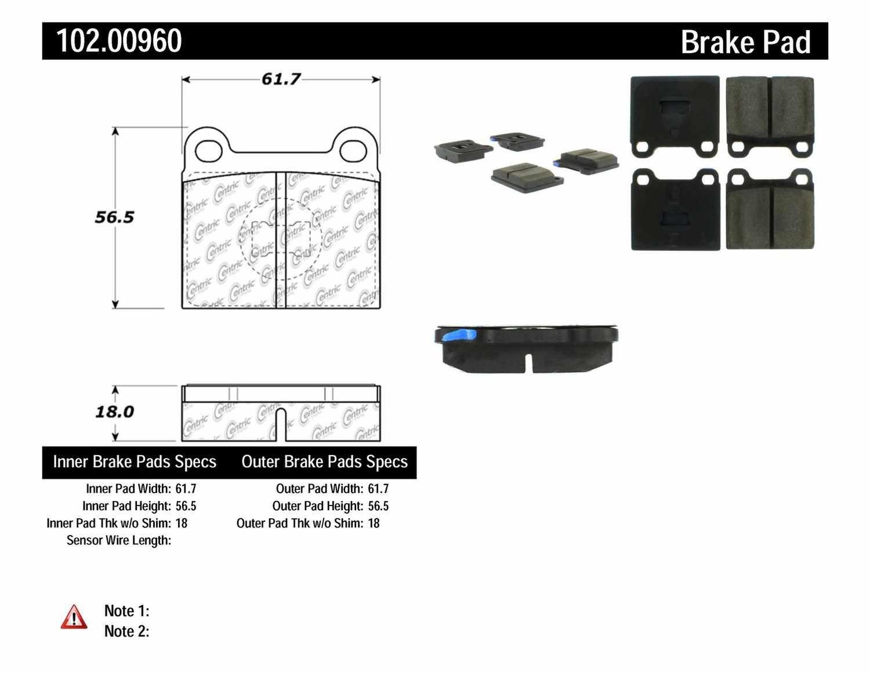 C-TEK BY CENTRIC - C-TEK Metallic Brake Pads-Preferred - CTK 102.00960