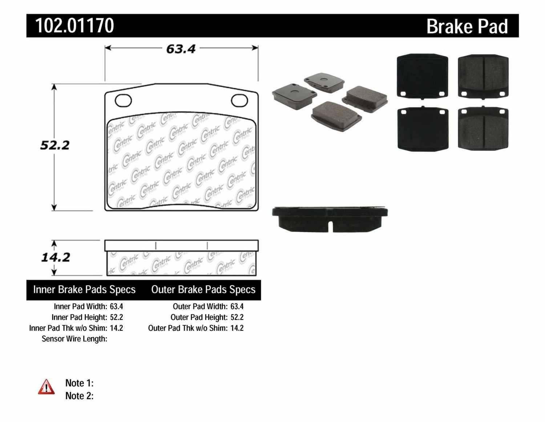 C-TEK BY CENTRIC - C-TEK Metallic Brake Pads - CTK 102.01170