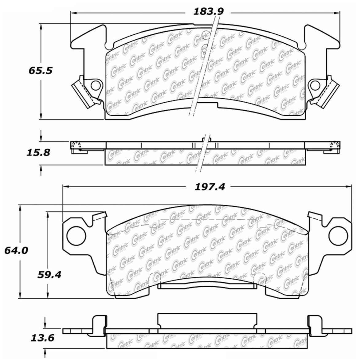 C-TEK BY CENTRIC - C-TEK Metallic Brake Pads-Preferred - CTK 102.01220