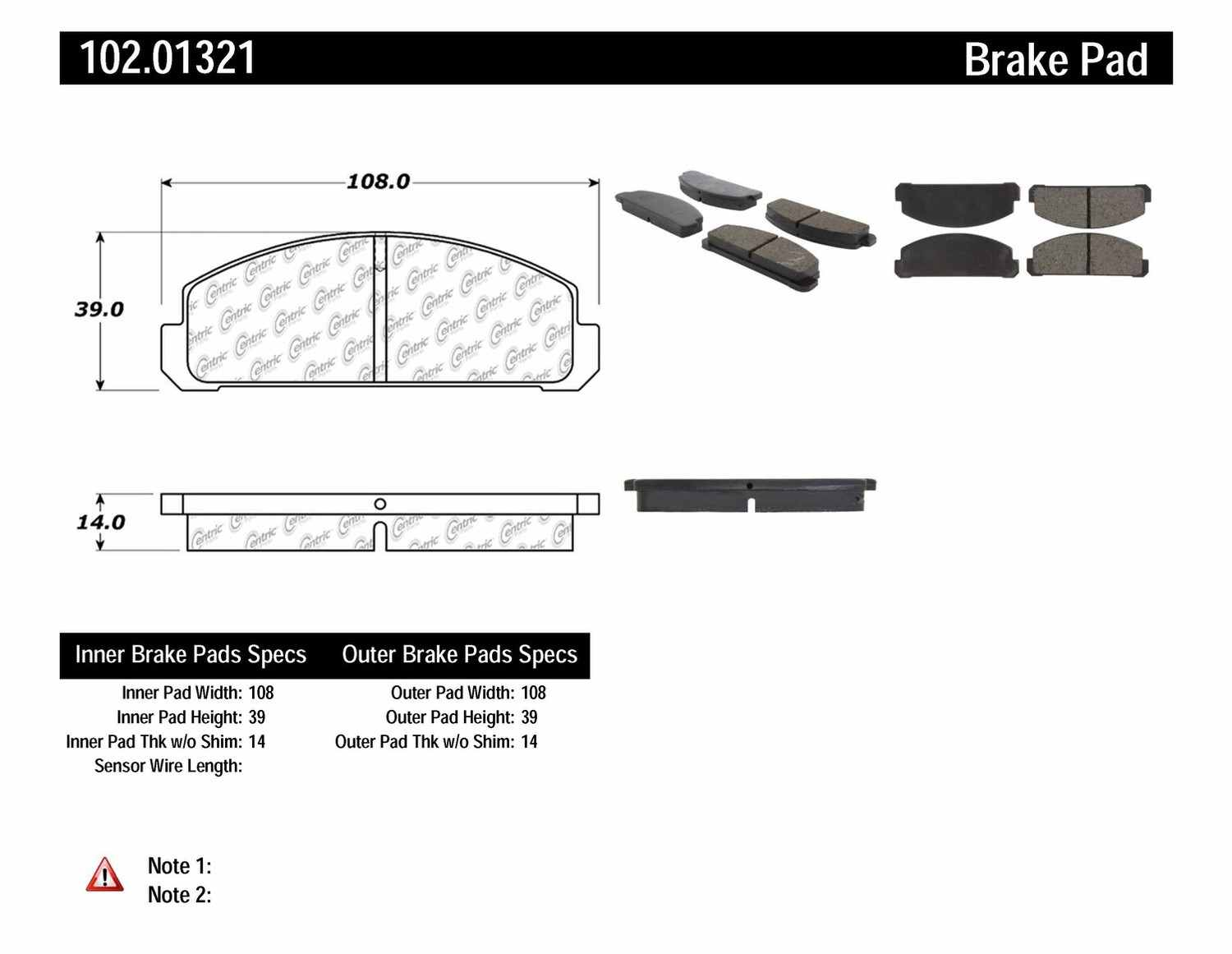 C-TEK BY CENTRIC - C-TEK Metallic Brake Pads-Preferred (Front) - CTK 102.01321