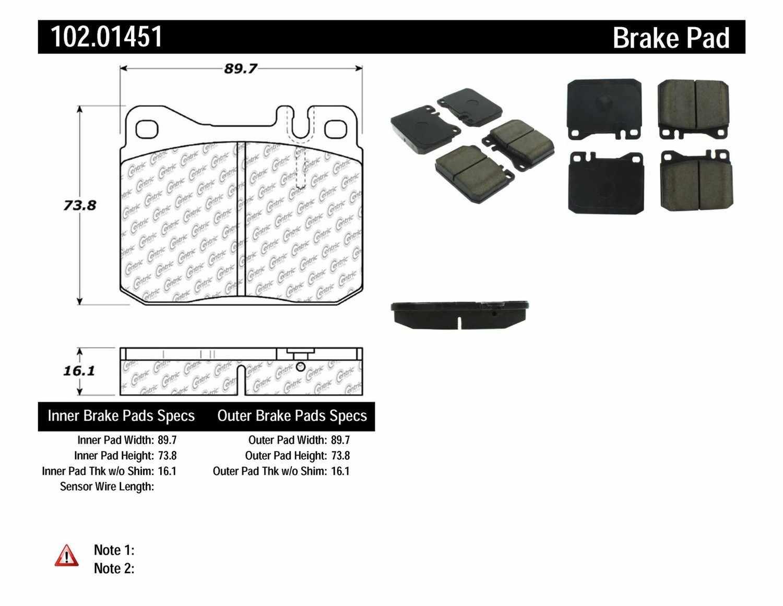 C-TEK BY CENTRIC - C-TEK Metallic Brake Pads (Front) - CTK 102.01451