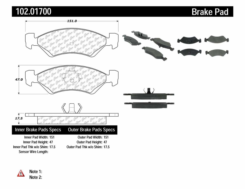 C-TEK BY CENTRIC - C-TEK Metallic Brake Pads-Preferred - CTK 102.01700
