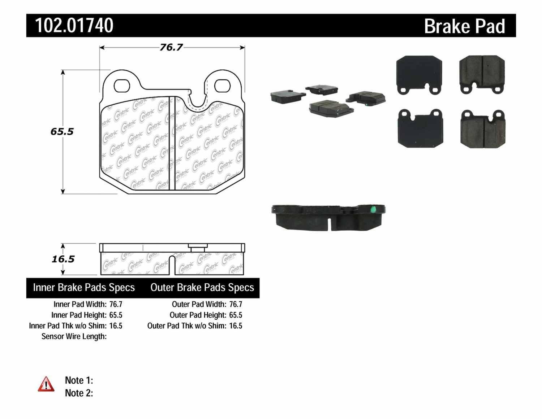 C-TEK BY CENTRIC - C-TEK Metallic Brake Pads (Front) - CTK 102.01740
