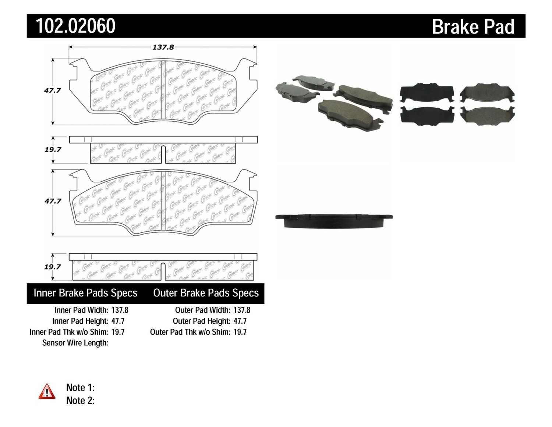C-TEK BY CENTRIC - C-TEK Metallic Brake Pads-Preferred (Front) - CTK 102.02060