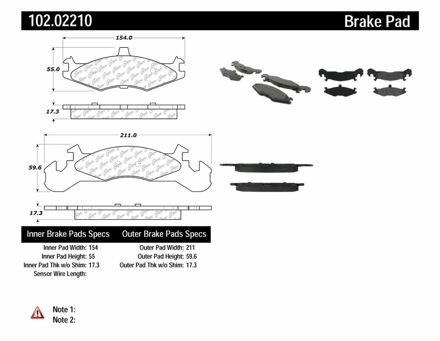C-TEK BY CENTRIC - C-TEK Metallic Brake Pads-Preferred (Front) - CTK 102.02210