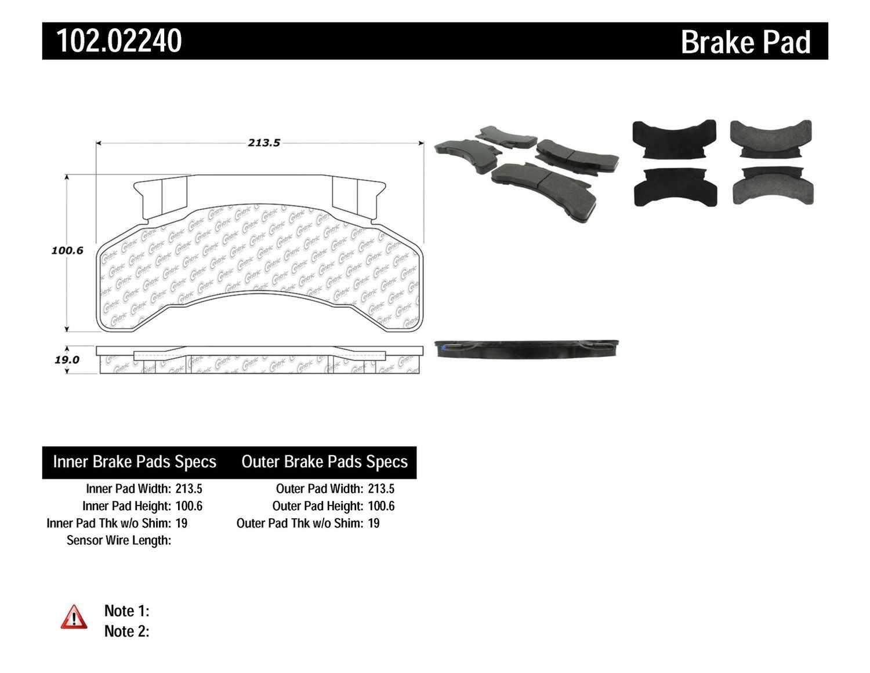 C-TEK BY CENTRIC - C-TEK Metallic Brake Pads - CTK 102.02240