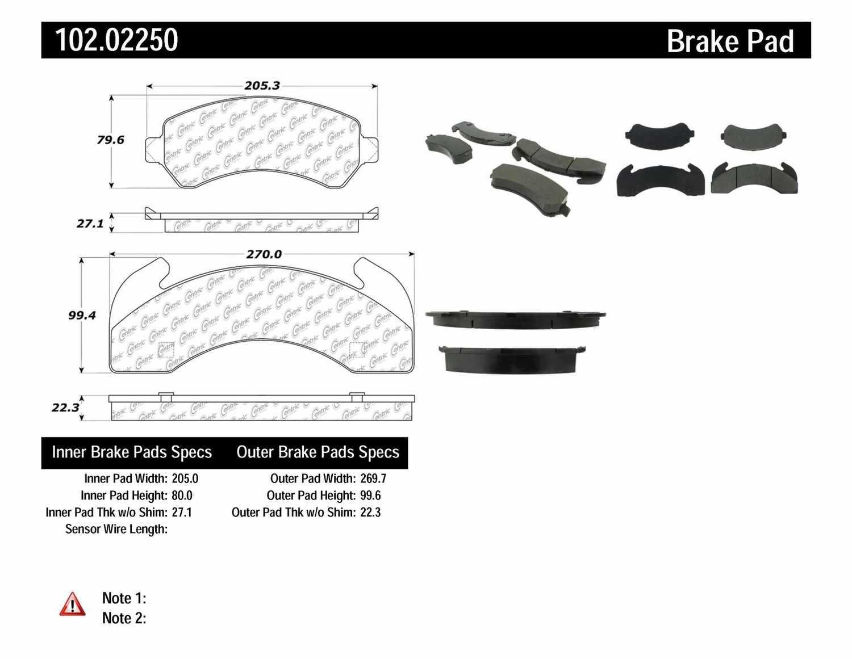 C-TEK BY CENTRIC - C-TEK Metallic Brake Pads - CTK 102.02250