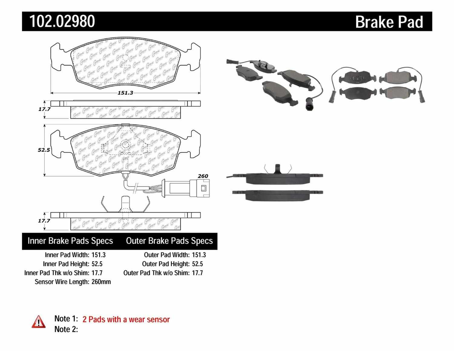 C-TEK BY CENTRIC - C-TEK Metallic Brake Pads-Preferred (Front) - CTK 102.02980