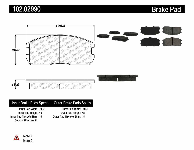 C-TEK BY CENTRIC - C-TEK Metallic Brake Pads - CTK 102.02990