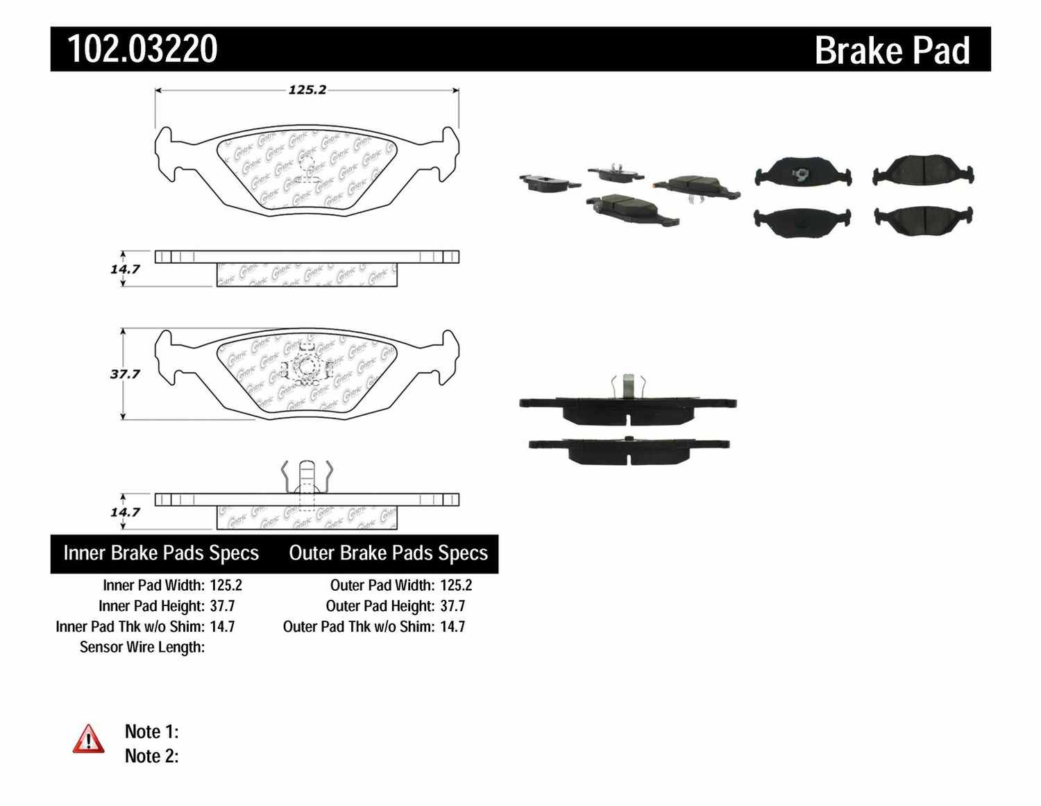 C-TEK BY CENTRIC - C-TEK Metallic Brake Pads (Rear) - CTK 102.03220