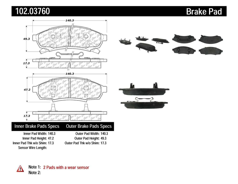C-TEK BY CENTRIC - C-TEK Metallic Brake Pads - CTK 102.03760
