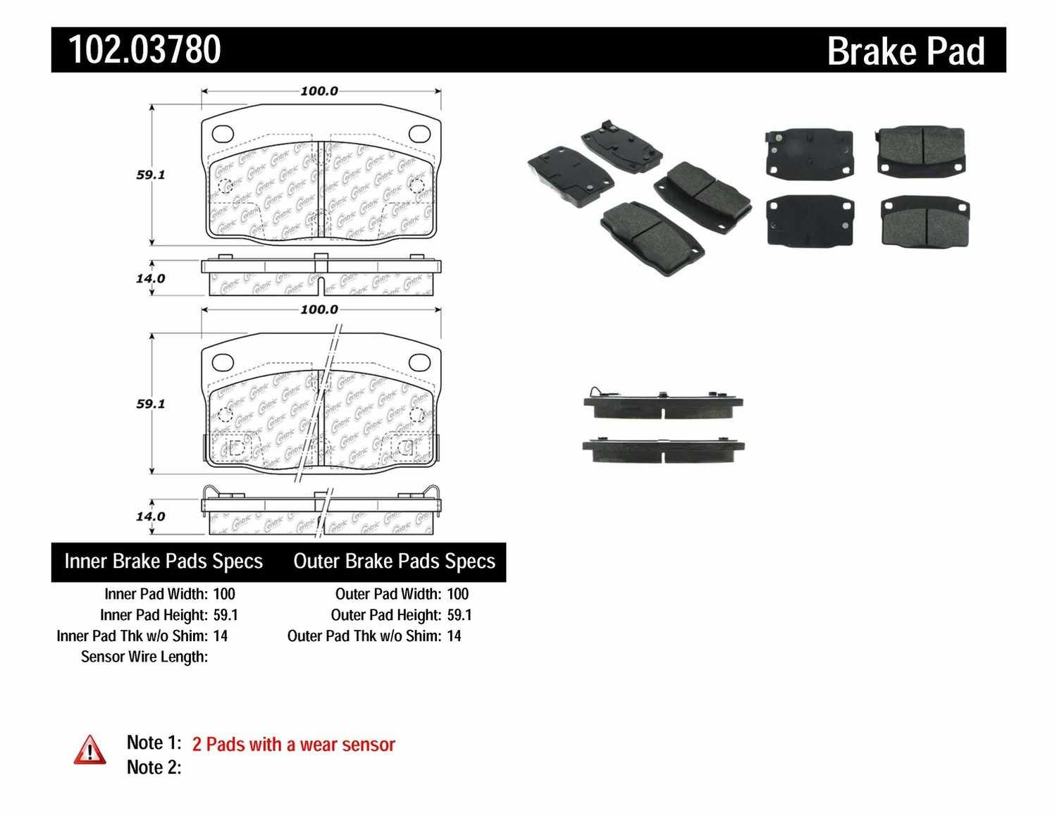 C-TEK BY CENTRIC - C-TEK Metallic Brake Pads-Preferred (Front) - CTK 102.03780