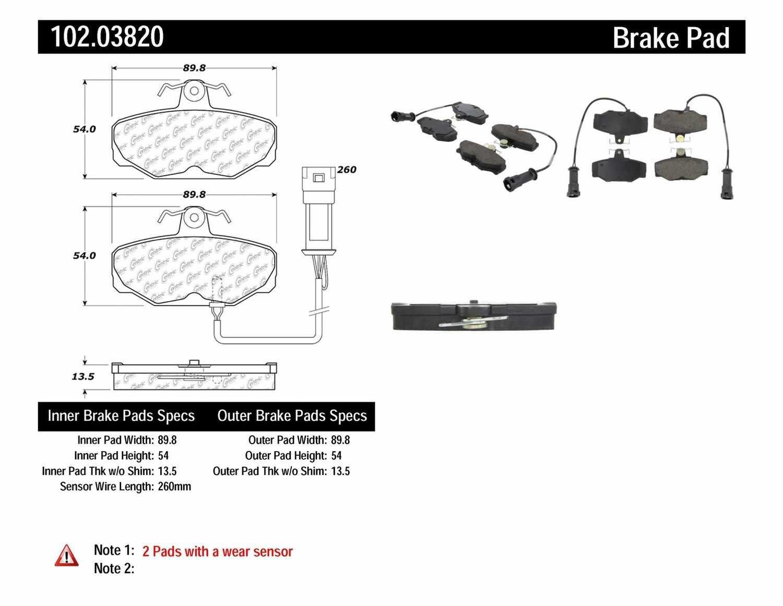 C-TEK BY CENTRIC - C-TEK Metallic Brake Pads-Preferred (Rear) - CTK 102.03820