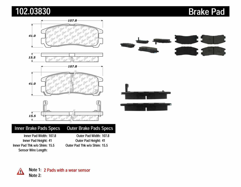 C-TEK BY CENTRIC - C-TEK Semi-Metallic Disc Brake Pad Sets (Rear) - CTK 102.03830