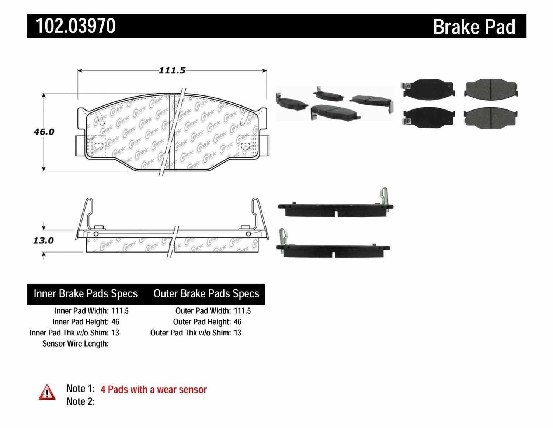 C-TEK BY CENTRIC - C-TEK Metallic Brake Pads-Preferred (Front) - CTK 102.03970