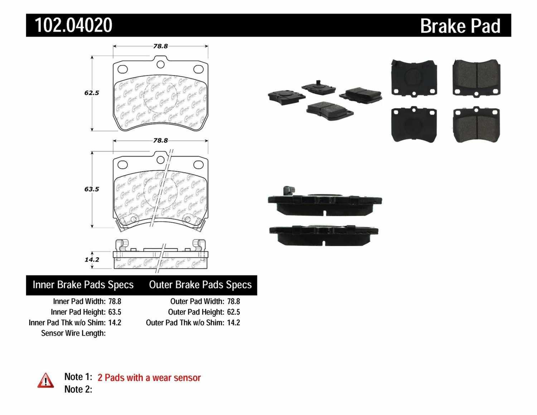 C-TEK BY CENTRIC - C-TEK Metallic Brake Pads (Front) - CTK 102.04020