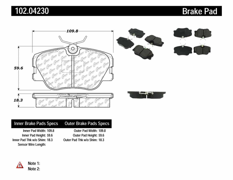 C-TEK BY CENTRIC - C-TEK Metallic Brake Pads (Front) - CTK 102.04230
